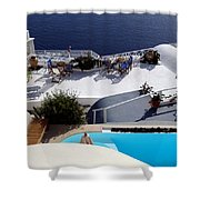 Views Of Santorini Greece Shower Curtain