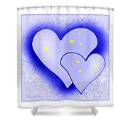 457 - Two Hearts Blue Shower Curtain