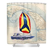 39 Foot Beneteau Cape Cod Chart Art Shower Curtain