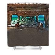 4x1 Under Fishing Pier Shower Curtain