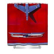 1955 Chevrolet Belair Nomad Hood Ornament Shower Curtain