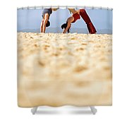 A Man And Woman Practicing Yoga Shower Curtain