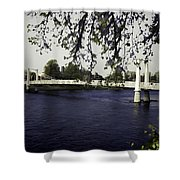 A Wonderful Suspension Bridge Over The River Ness In Inverness Shower Curtain