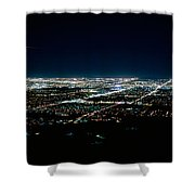 Aerial View Of A City Lit Up At Night Shower Curtain
