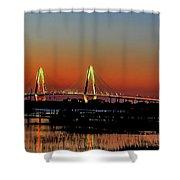 Arthur Ravenel Bridge Orange Glow Shower Curtain