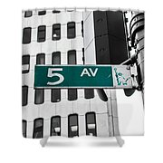 5 Ave. Sign Shower Curtain