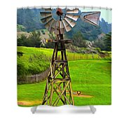 Painting San Simeon Pines Windmill Shower Curtain