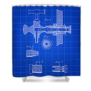 Beer Tap Patent 1876 - Blue Shower Curtain