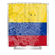 Bogota Street Map - Bogota Colombia Road Map Art On Colored Back Shower Curtain