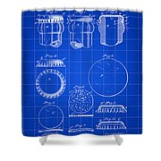 Bottle Cap Patent 1892 - Blue Shower Curtain