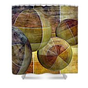 5 By 5 Gold Worlds Shower Curtain
