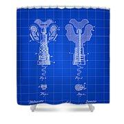 Corkscrew Patent 1886 - Blue Shower Curtain