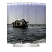 Digital Oil Painting - A Houseboat Moving Placidly Through A Coastal Lagoon In Alleppey Shower Curtain