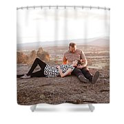 Engaged Couple At Smith Rock In Oregon Shower Curtain