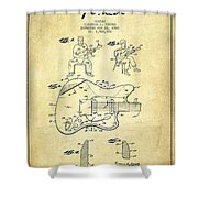 Fender Guitar Patent Drawing From 1960 Shower Curtain by Aged Pixel