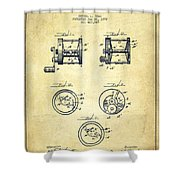 Fishing Reel Patent From 1892 Shower Curtain