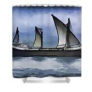 Fishing Vessel In The Arabian Sea Shower Curtain