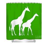 Giraffe In Green And White Shower Curtain