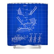 Golf Iron Patent 1914 - Blue Shower Curtain