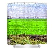 Green Fields With Birds Shower Curtain