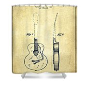 Gretsch Guitar Patent Drawing From 1941 - Vintage Shower Curtain by Aged Pixel