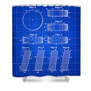 Hockey Puck Patent 1940 - Blue Shower Curtain