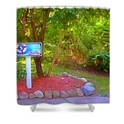 5 Hole Sign On  Golf Course 2 Shower Curtain