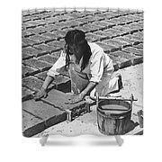 Indians Making Adobe Bricks Shower Curtain
