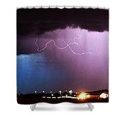 Late Evening Nebraska Thunderstorm Shower Curtain