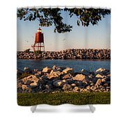 Lighthouse In Lake Michigan Nature Scenary Near Racine Wisconsin Shower Curtain