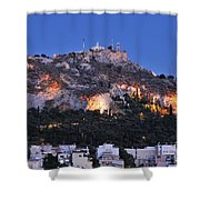 Lycabettus Hill During Dusk Time Shower Curtain