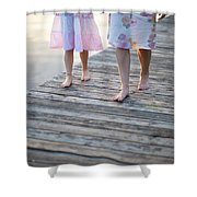 Mother And Daughter On A Wooden Board Walk Shower Curtain