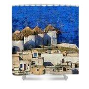 Mykonos Town Shower Curtain
