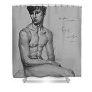 Original Drawing Sketch Charcoal Chalk Male Nude Gay Man Art Pencil On Paper By Hongtao Shower Curtain