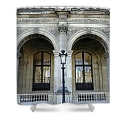 Ornate Architectural Artwork On The Buildings Of The Musee Du Louvre In Paris France Shower Curtain