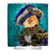 Pomeranian Art Canvas Print Shower Curtain