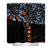 Pumpkin Escape Over Fence Shower Curtain