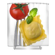 Ravioli Pasta Tomato And Basil On Fork Against White Background Shower Curtain