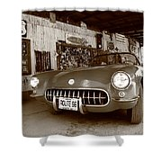 Route 66 Corvette Shower Curtain