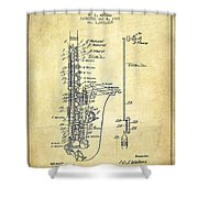 Saxophone Patent Drawing From 1928 Shower Curtain