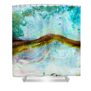 Shiny Nacre Of Paua Or Abalone Shell Background Shower Curtain