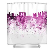 Singapore Skyline In Watercolour On White Background Shower Curtain