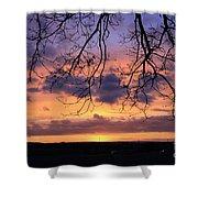 Spectacular Sunset Epsom Downs Surrey Uk Shower Curtain