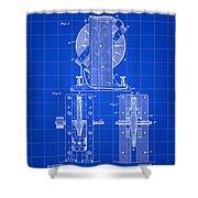 Tesla Electro Magnetic Motor Patent 1889 - Blue Shower Curtain