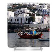 A Boat In The Harbor Of Mykonos Greece Shower Curtain