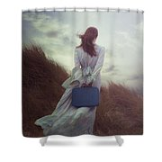 Woman With Suitcase Shower Curtain