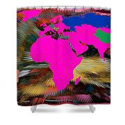 World Map And Human Life Shower Curtain