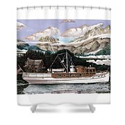 North To Alaska On A 53 Foot Classic Yacht  Shower Curtain