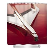 56 Chevy Belair Emblem Shower Curtain