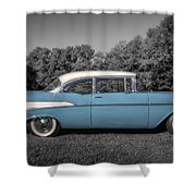 57 Chevy Black And White And Color Shower Curtain